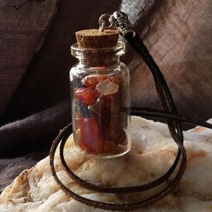 Spiritual Genuine Stones Carnelian/Jasper Leather